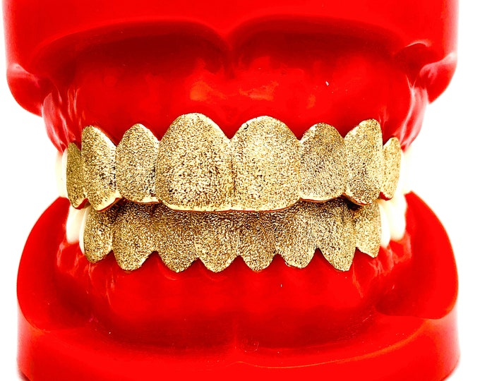 925 Solid Sterling Silver FULL Diamond Dust Cut Custom Fit Grill Grillz Yellow,Rose,Silver.