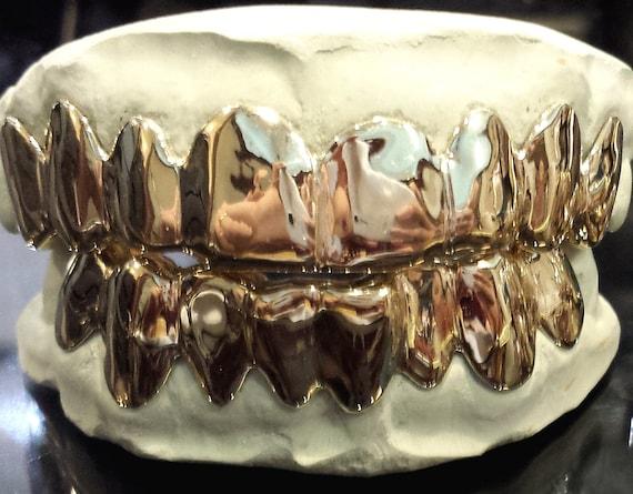 Sterling Silver over 18K ROSE Gold Plated Custom Real Handmade PLAIN Grillz