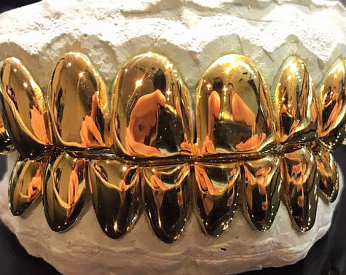 Sterling Silver W/ 18k Yellow Gold Plated Perm Cut Custom Fit Real Grill Grillz