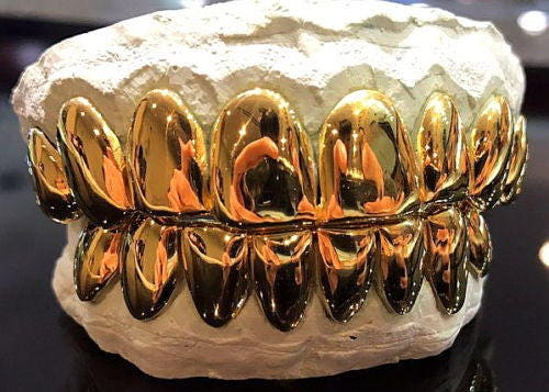 10K Solid Yellow Gold Custom fit REAL Perm Cut Grill Gold Teeth GRILLZ