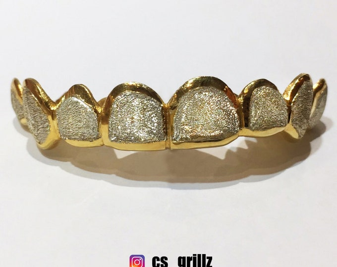 925 Sterling Silver W/ 18K Yellow Gold Plated Two Tone Diamond Dust Cut Custom Fit Grill Grillz