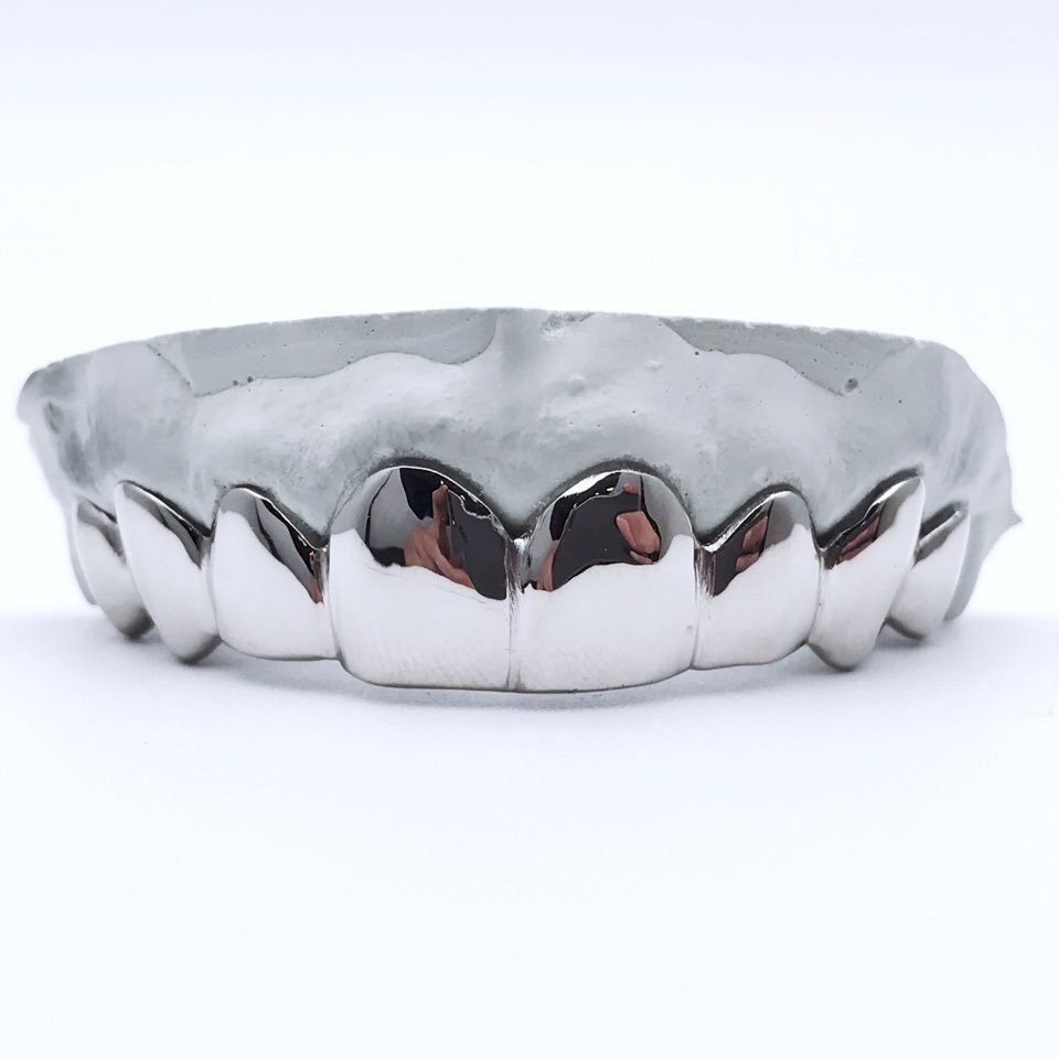 10K Solid White Gold Custom fit REAL Gold Grill Grillz Gold Teeth