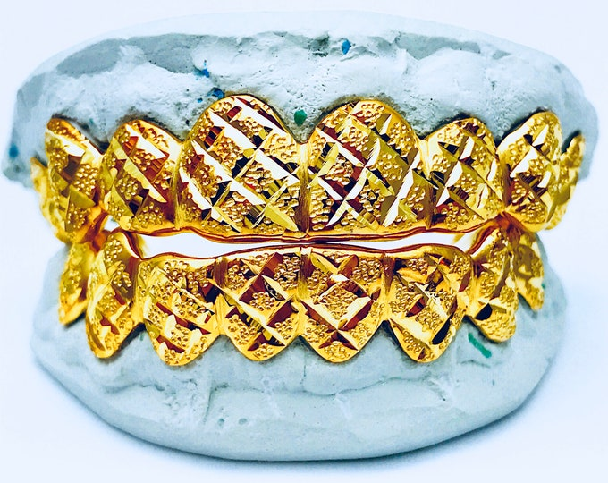925 Solid Sterling Silver w/18K Yellow Gold Plated Princess Diamond Dust Cut Handmade Custom Fit Grill Grillz