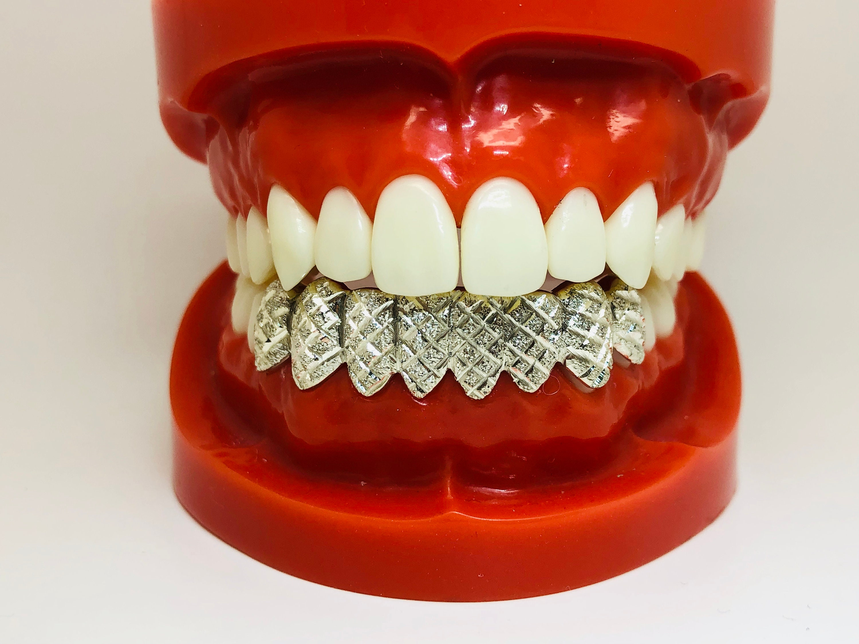 10K Solid White Gold Custom fit Diamond cut Dust Grill Gold Teeth
