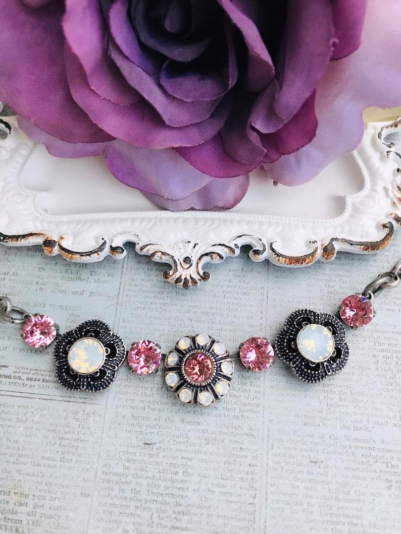 b5bc0c159c Flower necklace, Swarovski crystals, antique silver setting