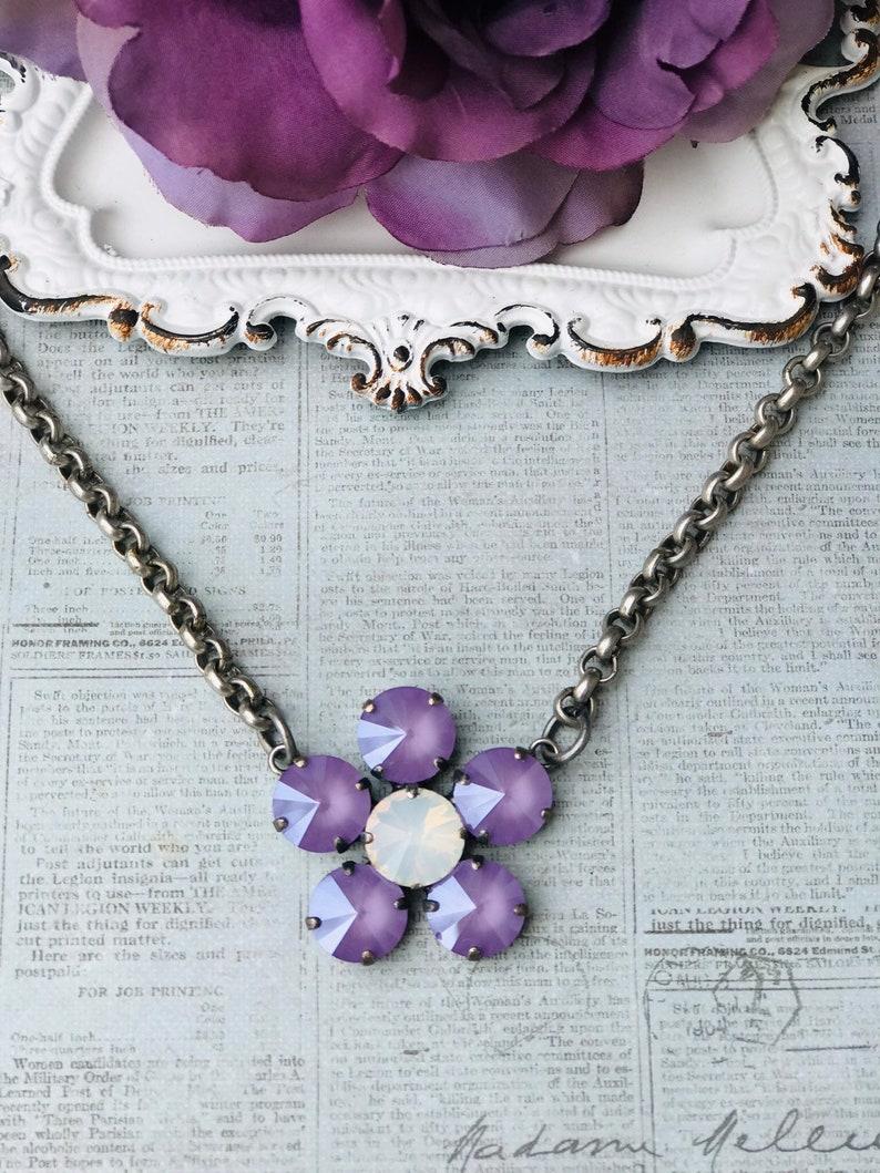 95c9baa71c Swarovski crystal flower necklace, 12mm crystals, spring neckkace