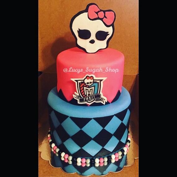 Swell Monster High Skull Cake Topper Etsy Personalised Birthday Cards Beptaeletsinfo