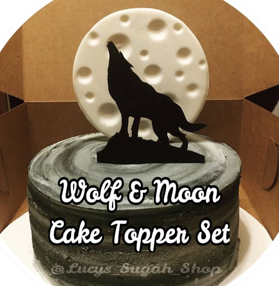 2 Pc Moon Wolf Cake Topper Etsy