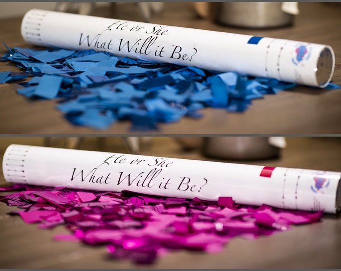 "24"" Confetti Cannon Gender Reveal Pink, Blue, White Confetti Cannons! Unique Gender Reveal Idea! Confetti Poppers Confetti Sticks"