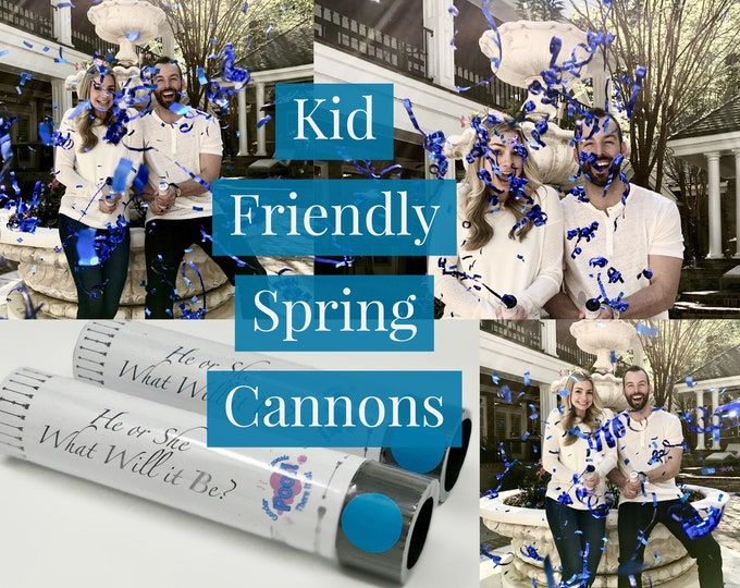Spring Confetti and Streamer Cannons that are Kid Friendly! Pink Blue