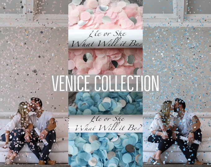 Designer Confetti Cannon for Gender Reveals Venice Collection™ By: Tori & Jon™ Stylized Peach Blush Pastel Blue Mint Gold Silver Rose Gold