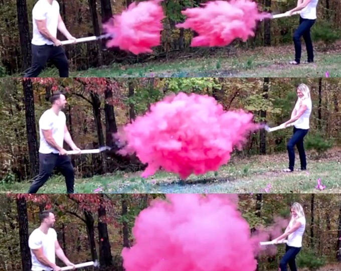"24 ""Smoke Powder Cannon™ in Pink, Blue, White, for Gender Reveals Ships Same Day! Gender Reveal Smoke Powder Cannons! As seen on TV!"