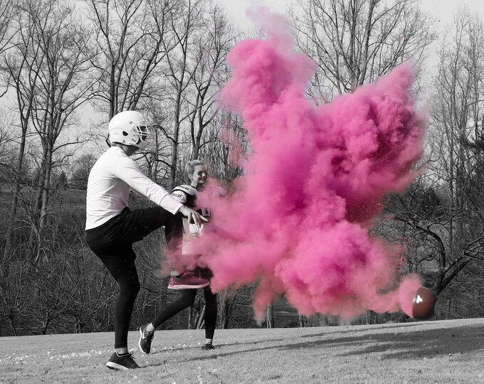 "10"" Powder & Confetti Gender Football Reveal Ball Gender Reveal Football Ships Same Day! Pink, Blue, Purple, Green, Yellow, Orange Red"