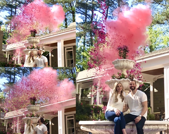 Confetti Cannon & Powder Cannon Gender Reveal Smoke Powder Cannons and Confetti cannons!  New Gender Reveal Idea! Creative Poppers!