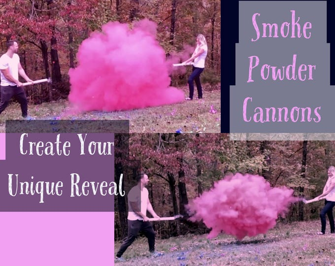 "4x24"" Smoke Powder Cannon ™ Gender Reveal Smoke Powder Cannons in Pink or Blue  New Gender Reveal Idea! Ships Same Day! As Seen On TV"