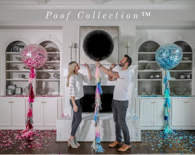 "36"" Black Gender Reveal Balloon filled with Designer Pink or Blue Confetti and Tassel  Poof Collection™ Posh Collection™ Venice Collection™"