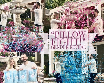 "Poof Pillows ""Pillow Fight!"" Gender Reveal Confetti Pillow with over 10,000 Pieces! Ship Same Day!"