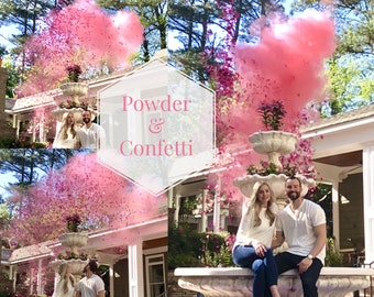 Confetti Cannon & Powder Cannon Gender Reveal Smoke Powder Cannons and Confetti cannons!  New Gender Reveal Idea! Pink Blue White