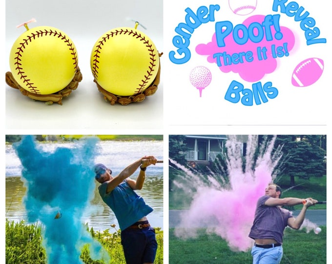 SOFTBALL 2x Powder of Baseball Gender Reveal Balls Pack (Custom Color Combinations and Styles) Gender Reveal Softball