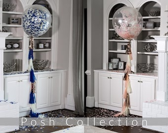 "Confetti Balloons 36"" 24"" 12"" Posh Collection™ By Tori & Jon™ Pink Blue Gender Reveal Decor Pair w/ Cannons"