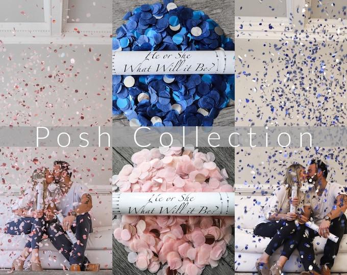 Designer Confetti Cannon for Gender Reveals Posh Collection™ By: Tori & Jon™ Stylized Peach Blush Rose Gold Navy Blue Metallic Blue Silver