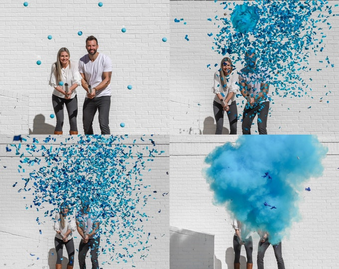 "4x24"" Ultimate Cannon Pack™ Powder, Confetti, Parachutes, and Sponge Balls in Pink or Blue The Ultimate Party Poppers! By Tori & Jon™"