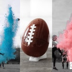"""Football Gender Reveal 10"""" Filled with Powder & Confetti Gender Reveal Ball Gender Reveal Football Pink, Blue, Purple, Green, Yellow, Orange"""