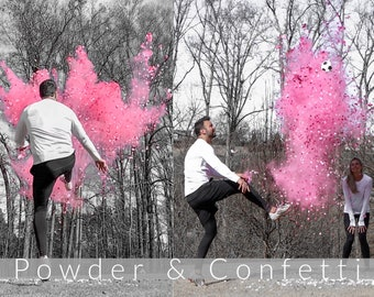 Soccer Gender Reveal w/ Powder & Confetti in Pink, Blue, Green, Yellow, Orange, Purple, White! Soccer Gender Reveal Soccer Ball