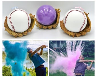 Baseball Gender Reveal Powder Baseballs in Pink or Blue Pair with Powder Cannons or Confetti Cannons! Handmade Baseball Gender Reveal Ball