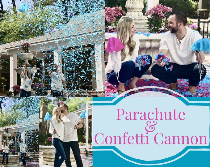 "24"" Confetti & Parachute Cannon Gender Reveal Confetti Cannon and Confetti Cannons! Smoke Powder Cannon! Ships Same Day!"
