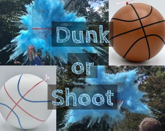 BASKETBALLS Gender Reveal Ball Filled with Pink or Blue Powder! Gender Reveal Basketball with Pink and Blue Laces