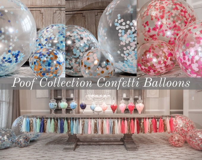 "Confetti Balloons 36"" 24"" 12""  for Gender Reveals from the Poof Collection™ By Tori & Jon™ Designer Gender Reveal Decor Pair w/ Cannons"