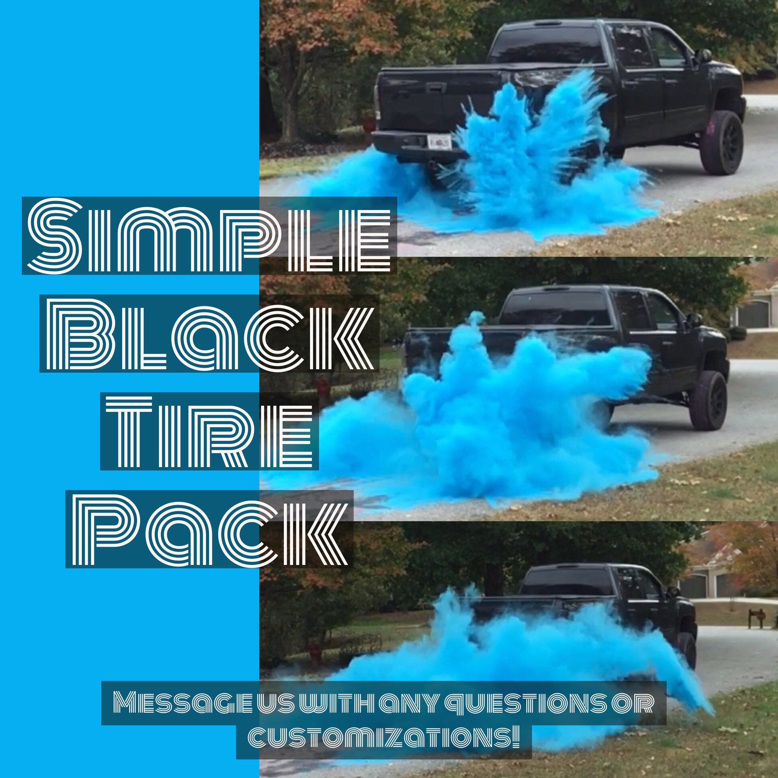 ORIGINAL BURNOUT Gender Reveal Simple Black Tire Pack for Peel Outs ...