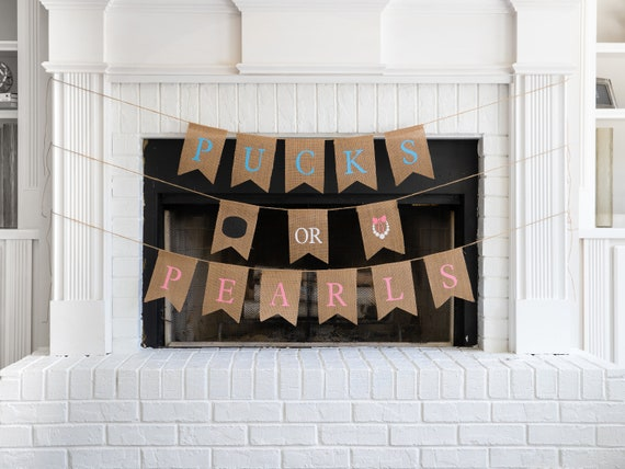 PUCKS or PEARLS Burlap Banner! The Perfect Gender Reveal Theme! Customizable Burlap Banners! Perfect Gender Reveal Ideas!