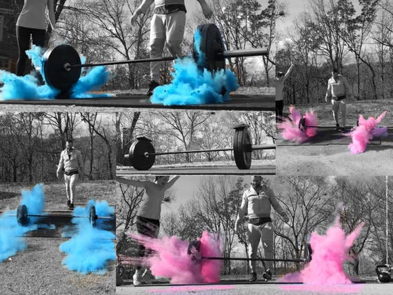 GYM and FITNESS Gender Reveal! Simple Barbell Pack &  Medicine Ball Pack for Weight Lifting Themed Gender Reveal Ideas