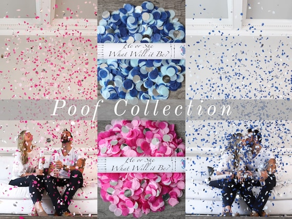 Designer Confetti Cannon for Gender Reveals Poof Collection™ By: Tori & Jon™ Stylized Pink Raspberry Blush Gold Navy Blue Sky Silver
