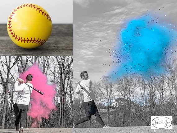 Gender Reveal Softball Powder and or Confetti Softballs in Pink or Blue Pair with Powder Cannons or Confetti Cannons! Handmade! 2x Powder!