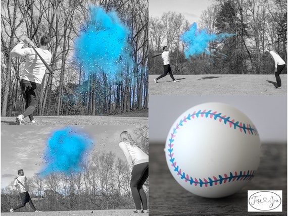 Baseball Gender Reveal! Gender Reveal Baseballs in Pink or Blue  Filled w/ Powder and or Confetti Pair with Our Cannons! Handmade Baseball