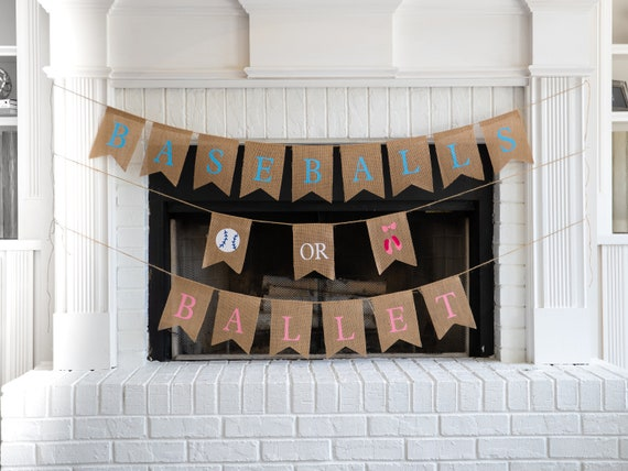 BASEBALL or BALLET Burlap Banner! The Perfect Gender Reveal Theme! Customizable Burlap Banners! Perfect Gender Reveal Ideas!