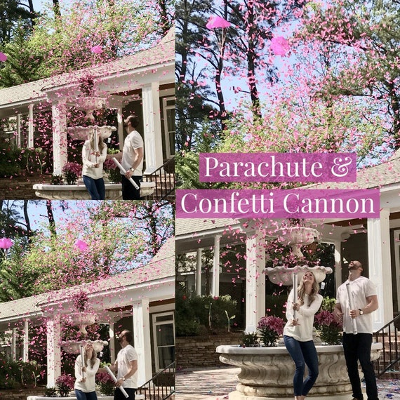 "24""  CONFETTI & PARACHUTE CANNON Gender Reveal Confetti Cannon and Confetti Cannons! *New* Gender Reveal Idea! Ships Same Day!"