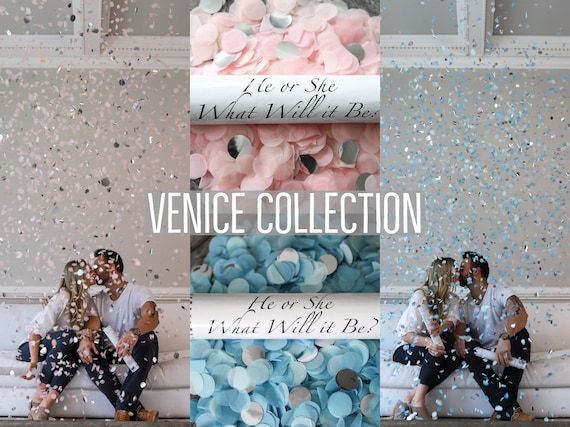 Confetti Cannon for Gender Reveals Venice Collection™ By: Tori & Jon™ Stylized Peach Blush Pastel Blue Mint Gold Silver Rose Gold