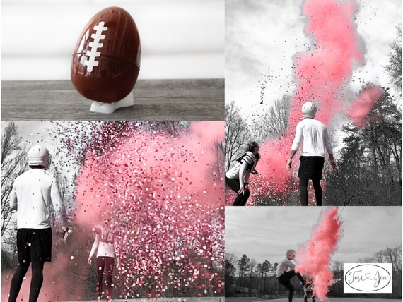 "10"" Gender Reveal Football! Football Gender Reveal w/ Powder & Confetti Gender Reveal Footballs Pink, Blue, Purple, Green, Yellow, Orange"