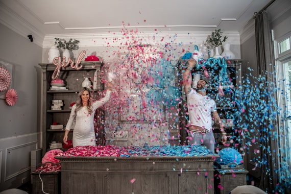 Gender Reveal Decor Set w/ Confetti Toss for Gender Reveals Poof Collection By Tori & Jon™ Pink, Magenta, Pastel Blue, Cyan, and Silver