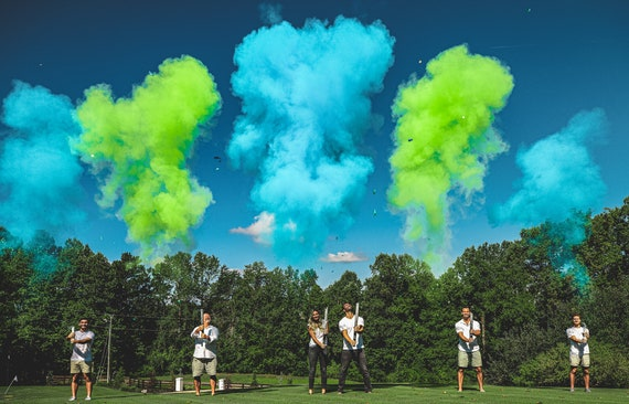 "6 Gender Reveal Cannons! Powder Cannons in Blue and Green for Boy or Pink and Purple for Girl - 32"", 24"", and 12"" Cannons 6 Cannon Bundle"