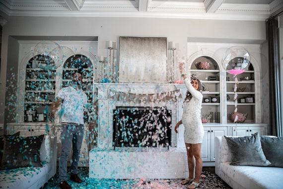 Gender Reveal Decor Set w/ Confetti Toss for Gender Reveals Venice Collection By Tori & Jon™ Blush Peach Rose Gold Pastel Blue Mint Ivory