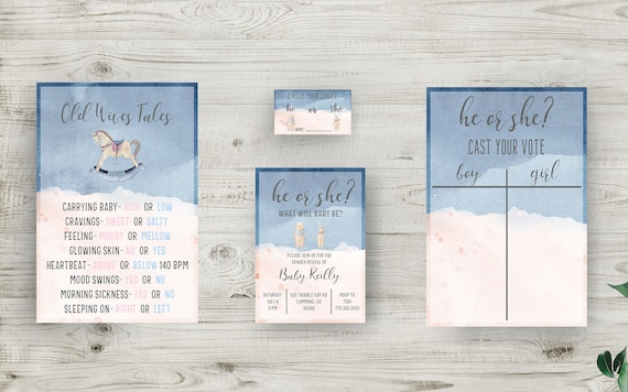 Gender Reveal Invitation Bundle, Decor, and Much More! Instantly Download Invitations, Old Wives Tales, and Voting Ballots