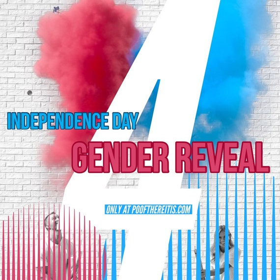 Independence Day Gender Reveal in Blue and Red Confetti & Powder Cannon Gender Reveal Both Smoke Powder and Confetti for 4th of July!