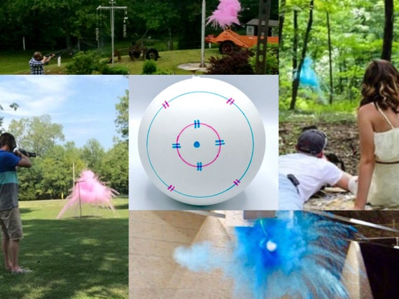 Shooting Target Gender Reveal Shooting Target Ball in Pink or Blue! Pair w/ Our Banners Buck or Doe Rifles or Ruffles Guns or Glitter