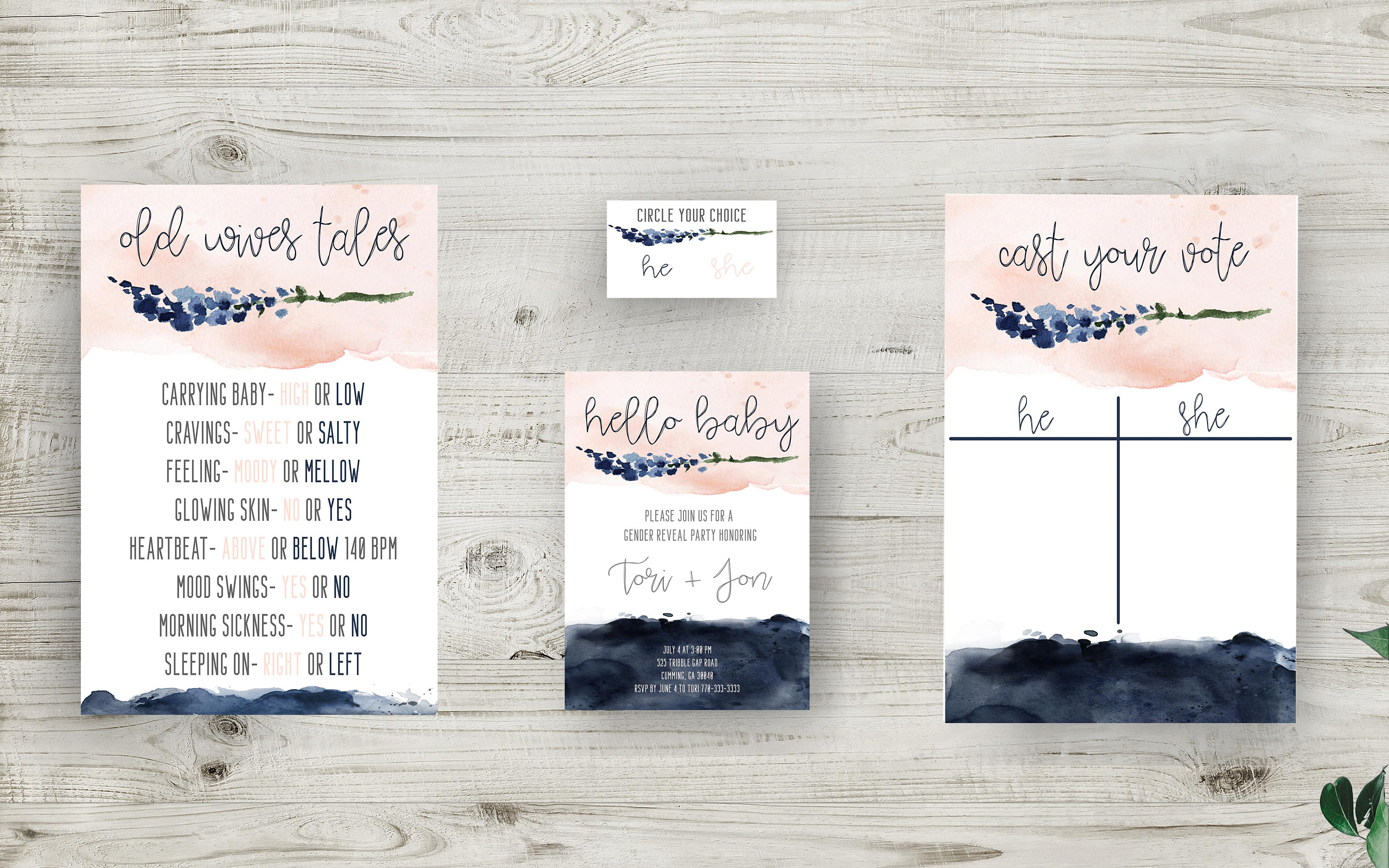 Gender Reveal Invitation Bundle Decor And Much More Instantly