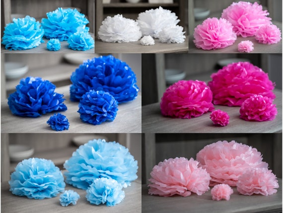 "Paper Poofs for Gender Reveal Decor in 4"" 8"" 12"" and 16"" in Blue, Midnight Blue, Cyan, Navy Blue, Pink, Blush, Magenta, Flamingo or White"